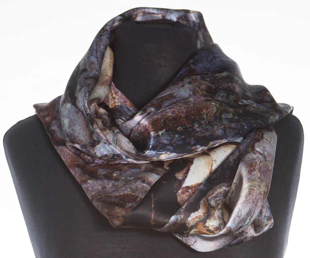 Black Pine Tree Bark 100% Silk Scarf by Howard Guest