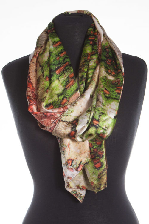 Chinese Zelkova Tree Bark 100% Silk Scarf, corals, pinks and subtle fawns