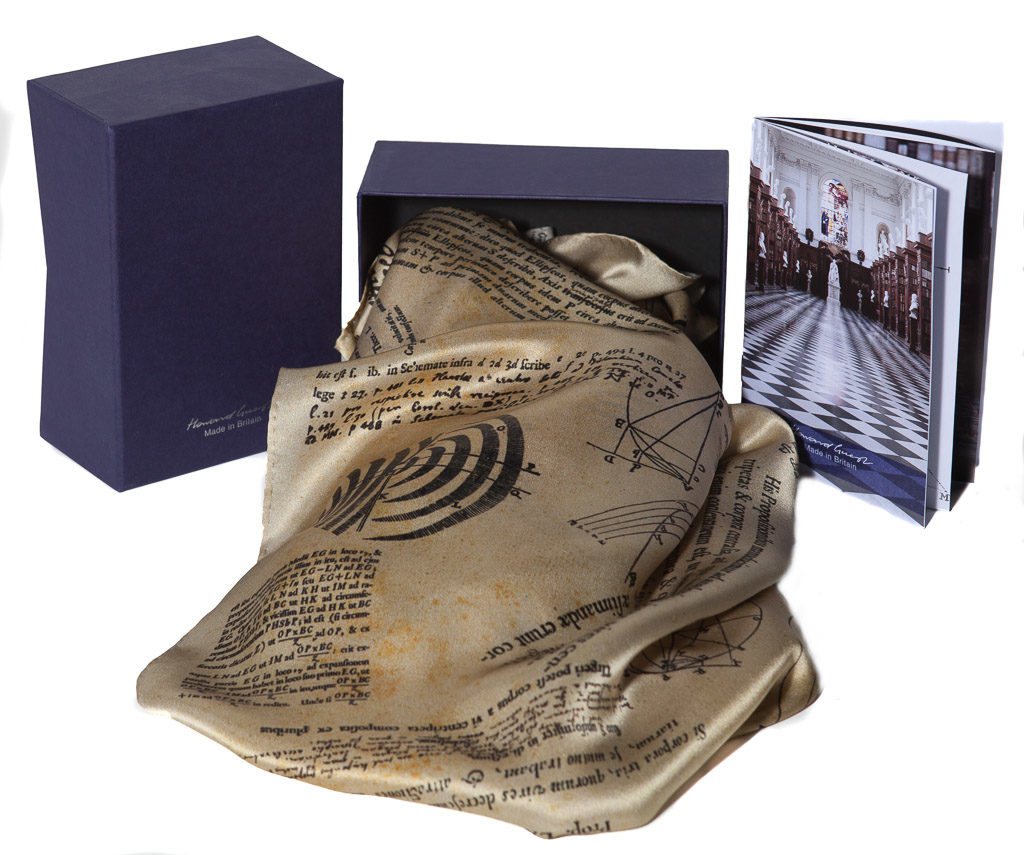Isaac Newton 100% silk scarf with box and pamphlet. Designed by Howard Guest and made Britain, featuring diagrams and text taken from Newton's copy of the Principia.