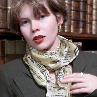 The Newton Scarf, 100% Silk Made in Britain. Designed  by Howard Guest using the text, diagrams and Newton's annotations of his personal copy of the Principia
