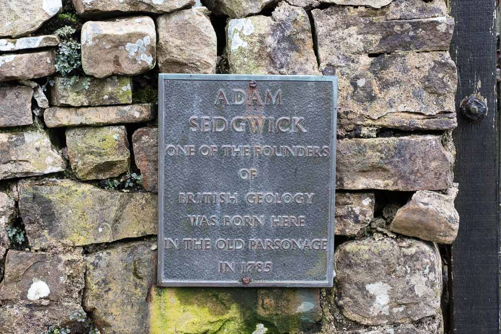 The plaque outside Adam Sedgwick's birthplace in Dent in the Yorkshire Dales